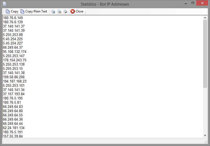 Statistics - Bots IP Addresses
